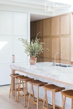 Small Space Kitchen, Open Plan Kitchen, New Kitchen, Kitchen Ideas, Small Spaces, Kitchen Living, Kitchen Trends, Kitchen Jokes, White Oak Kitchen