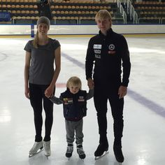 Evgeni Plushenko and Carolina Kostner with Plushenko's son Sasha at Mishin's summer training camp