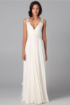 A-line Elegant Long Beaded Empire Ruching V-neck Simple Wedding Dress - Shedressing.com