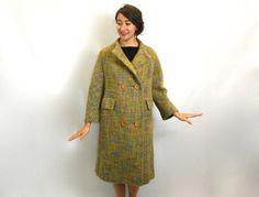 Vintage 50s Gold & Grey Plaid Wool Mohair by GlennasVintageShop