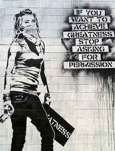 Graffiti If You Want To Achive Greatness not Banksy Extra Large Metal Art Wall Print Photo on Metal Street Art Grunge Style Home Art Naylinlay Street Art Banksy, Grafitti Street, Street Art Utopia, Amazing Street Art, Amazing Art, Best Street Art, Awesome, Arte Banksy, Bansky