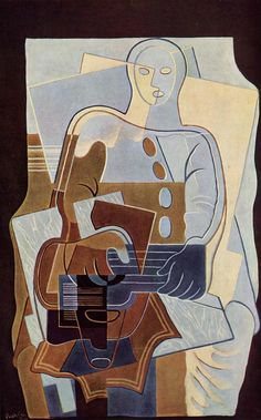 Pierrot with Guitar by Juan Gris #art