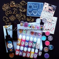 Kawaii UV Resin Craft Kit | Deluxe Set including Cute Open Bezels, Pigments, Clear Soft Mold, UV Torch, Glitters, Mini Embellishments, Stickers, Working Mat