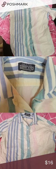 SZ 12 BOYS LANDS END PASTEL STRIPE BUTTON FRONT Button front collared shirt by Lands End. Sz 12 boys. Thanks for visiting my closet! Come again soon! Make me an offer! I love offers! I need offers please! Lands End Tops Button Down Shirts
