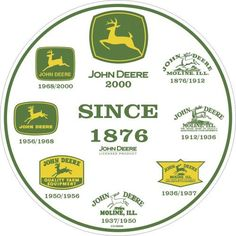 """John Deere Round Sign, History of Logos by John Deere. $15.12. Quality aluminum construction. Embossed and painted metal sign. Made in usa. John Deere Round Metal Sign features John Deere """"History of Logos"""" on white background. 12"""" diameter."""