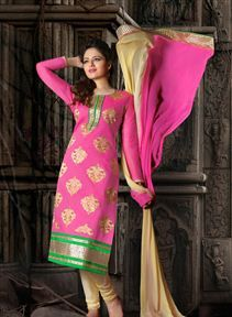 Gorgeous Pink Color Cotton Salwar Kameez