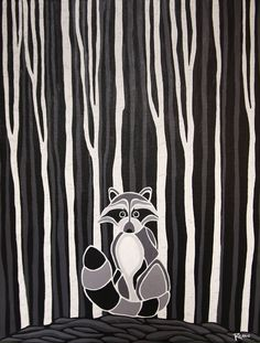 Coon at night what a delight! Artist At Work, Art Projects, Canada, Painting, Note, Illustrations, Facebook, Night, Stained Glass