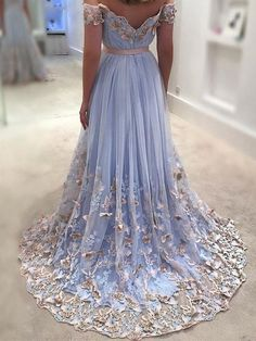 2019 Sexy Prom Dresses Off-The-Shoulder Floor-Length Appliques Long Prom Dress Evening Dress, SRS, This dress could be custom made, there are no extra cost to do custom size and color. Tulle Prom Dress, Blue Wedding Dresses, Homecoming Dresses, Formal Dresses, Party Dresses, Evening Dresses Online, Dress Online, Butterfly Dress, The Dress