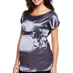 Maternity Satin Side-Tie Holiday Woven Top - jcpenney