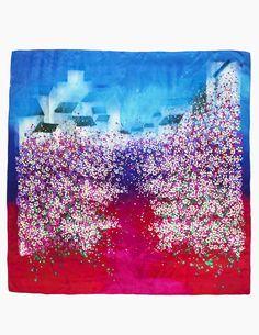 Dahlia Women's 100% Square Silk Scarf Shawl - Gradient Peach Blossom - Red