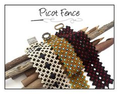 Beading Pattern, Intermediate Tutorial  Right Angle Weave RAW Netted Cuff Beading Tutorial PICOT FENCE par HeatherCollinBeading sur Etsy https://www.etsy.com/fr/listing/75846391/beading-pattern-intermediate-tutorial