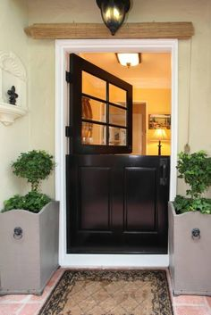 Beautiful Black Dutch Doors.  LOVELY!