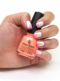 Use China Glaze Highlight of My Summer, Sun of a Peach, and Bottoms Up all from the Summer 2013 Sunsational collection. Art deco nail art.