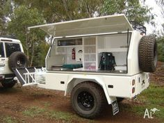 Custom built camper trailer / camp kitchen ideal for heavy duty off road. Cargo Trailer Camper, Work Trailer, Off Road Trailer, Trailer Build, Diy Camp Trailer, Super Trailer, Expedition Trailer, Overland Trailer, Offroad