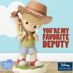 Take a stroll down memory lane with this adorable tyke, dressed to match his doll and his favorite character from Disney•Pixar's Toy Story, Sheriff Woody!   #PreciousMoments #LifesPreciousMoments #DisneyShowcaseCollection #DisneyPixar #ToyStory #SheriffWoody