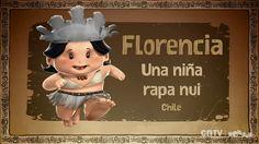 """Florencia Araki es una niña rapanui que vive en Isla de Pascua, le gusta ayudar a su papá en la parcela, cabalgar pero lo que más le gusta es bucear. Florencia será la encargada de contarnos el sentido de los """"Ahu"""" y los """"Moais""""."""