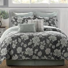 5pc b smith maren king quilt set gray blue vintage french country shabby floral master bedroom