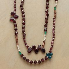 """WINTERBERRY NECKLACE -- Beautiful at any time of year, our richly-hued, handcrafted necklace mixes deep red garnets with green agate, andalusite and neon apatite, enhanced by silver beads and a brushed, oxidized sterling silver toggle clasp. Exclusive. 28""""L."""