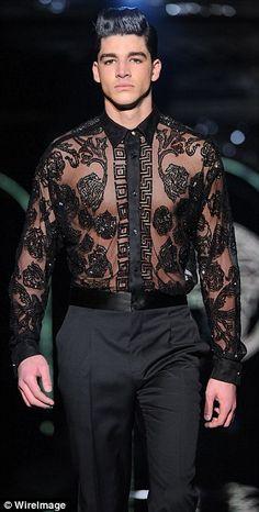 Milan Men's Fashion Week: Versace showcases gold studs, bright florals and pyjama suits Milan Men's Fashion Week, Mens Fashion Week, Fashion Show, Guy Fashion, Latex Fashion, Work Fashion, Winter Fashion, Versace Fashion, Versace Men