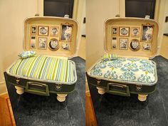 vintage luggage = pet bed .  I love how they hung pictures on the inside!