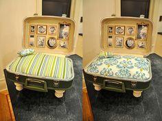 Cama para mascota DIY con bellos detalles como las pegatinas con fotografías y el almohadón reversible y fácil de hacer.