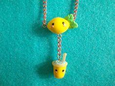 Kawaii lemon and lemonade necklace  polymer by xKawaiiBowtiquex, $12.50