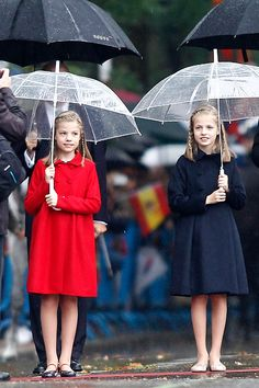 Princess Leonor of Spain (R) and Infanta Sofia of Spain (L) attend the National Day military parade on October 12, 2016 in Madrid, Spain.