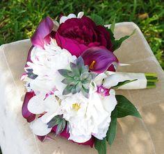 Silk purple calla lily, silk peony, cream peonies
