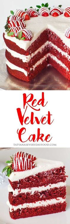Red Velvet Cake is a much-loved and iconic cake made with cocoa powder, red food coloring and cream cheese frosting. This simple, no-fail recipe yields a moist and delicious cake! Enjoy it year-round (Simple Baking Treats) Bolo Red Velvet, Velvet Cake, Velvet Cream, Velvet Cupcakes, Chocolate Flavors, Chocolate Cake, Chocolate Covered, Chocolate Cream, Chocolate Frosting