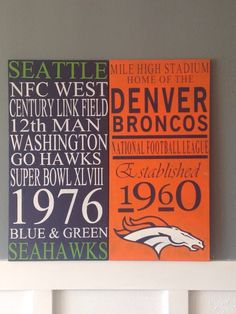 A personal favorite from my Etsy shop https://www.etsy.com/listing/211343184/custom-handpainted-nfl-distressed-wood