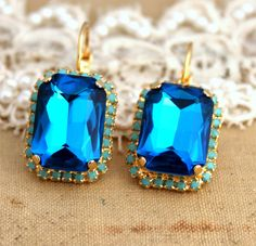 Crystal blue turquoise big earring  14 k plated gold by iloniti, $44.00