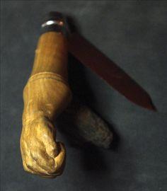Fulbert DUBOIS sculpteur - sculpture bois merisier - manche couteau opinel sculpté