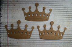 3 Fancy Large Bare chipboard die cuts Crown Diecuts by studioCee, $1.20