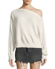 TWRH7 T by Alexander Wang One-Shoulder Rib-Knit Pullover Sweater with Snap Details