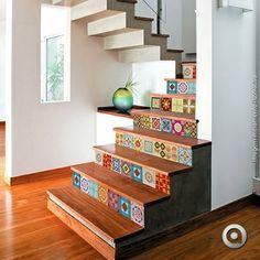 Dica 1:  Cole os adesivos de azulejo na sua escada, fica lindo. Confira em nosso site: www.adesivaria.com  #adesivodeazulejo #escadaria #decoracao