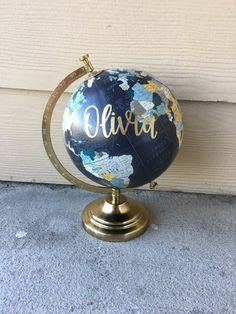 Custom Globe | Calligraphy Globe | Baby Name Globe | Hand Painted Globe | Hand Lettered | Travel | Nursery Decor | Home Decor by LairdandBrie on Etsy https://www.etsy.com/listing/507213768/custom-globe-calligraphy-globe-baby-name