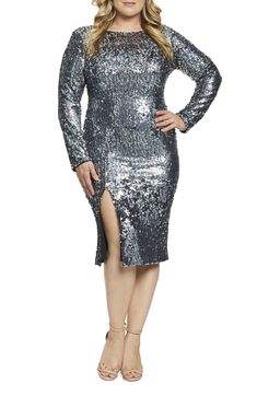 430d72225a67f Dress the Population Natalie Front Slit Sequin Cocktail Sheath (Plus Size)  Moda Plus Size