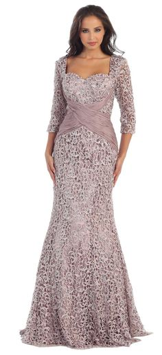 Long Sleeves Lace Mother of Bride Gown Plus Size Formal