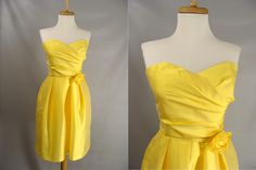 $48.00 Blank Slate as-is. Yellow Alfred Sung Short Strapless Dress OR Customizable Zombie Halloween Costume. OPTIONAL BLOOD & Distressing. size 6 S by wardrobetheglobe on Etsy