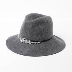 Rhinestone flower fedora hats for women fashion winter felt fedora hat