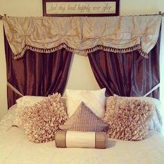 Image result for curtains as headboard