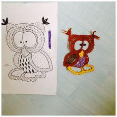 Needle Lace, Bobbin Lace, Bird Crafts, Lace Making, Lace Patterns, String Art, Crochet Earrings, Owl, Snoopy