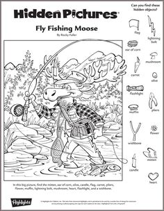 Fly Fishing Moose | Classroom - Highlights.com (do moose eat fish?... maybe it`s just an occupation) :)