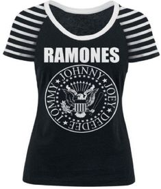 e94aa18b78 Ramones Women's T-shirt - Presidential Seal Logo | Black White Striped  Sleeve Shirt