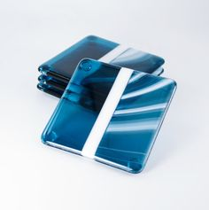 Fused Glass Coasters Blue and White by Nostalgianmore Gorgeous set, perfect as a hostess gift!