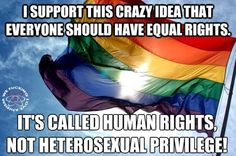 I support this crazy idea that everyone should have equal rights. It's called HUMAN RIGHTS, not heterosexual privilege! Lgbt Rights, Equal Rights, Human Rights, Civil Rights, Change The World, In This World, Prison, Ya Novels, Lgbt Community