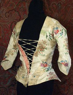 Brocaded silk caraco, c.1790, from the Vintage Textile archives.