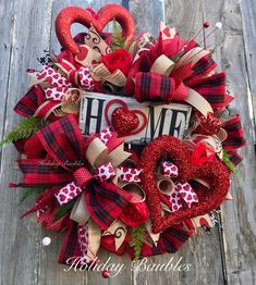 Wreaths, Arrangements and More for Every Occasion by HolidayBaublesWreath : Valentine Wreath by Holiday Baubles Diy Valentines Day Wreath, Valentines Day Decorations, Valentine Day Crafts, Easter Wreaths, Holiday Wreaths, Mesh Wreaths, Holiday Ideas, Wreath Crafts, Wreath Ideas