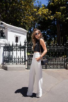 Faux leather top from Ivyrevel // pants and earrings from Zara // sunglasses from Asos // Chanel boy bag | Kenza Zouiten