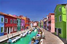 Colored houses at Burano, Italy.